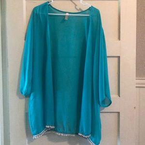 Sweaters - Sheer turquoise kimono